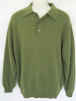 DANIEL BISHOP Sz L Sweater 100% Cashmere Collared Button-Neck Pullover EXC COND