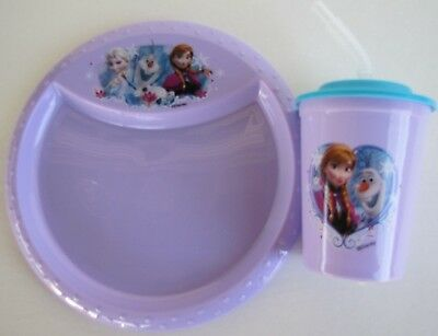 Disney Frozen Elsa Anna Olaf Dinner Set -1 Plate 1 Sipper Cup Ships Free CUTE!!