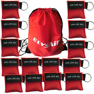 300 sets CPR MASK face mask Face shield one-way valve with keyring pouch RED