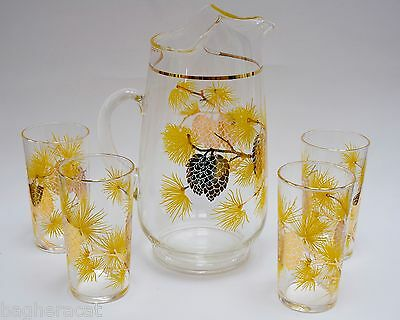 Golden Pine Cone Vintage Pitcher & Glass Set -Iced Tea- Retro Atomic MCM