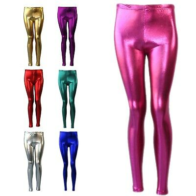 Shiny Girls Leggings Dance Disco Kids Christmas Color Tight Pants Size 7-13 year