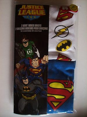 Justice League Underwear Boys 2 Boxer Brief Pack Character Heroes Sz  4 6 8  NIP