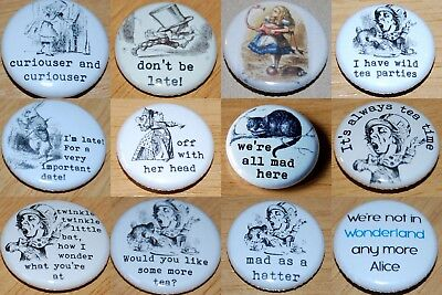 ALICE IN WONDERLAND Button Badge 25mm / 1 inch - MAD HATTER LEWIS CARROLL