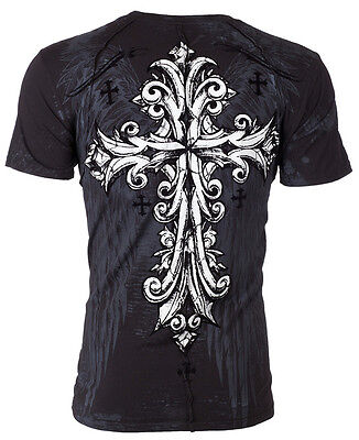 Xtreme Couture AFFLICTION Men T-Shirt TROUBLESOME Cross Tattoo Biker MMA UFC $40