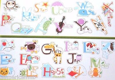 26 Peel Stick Alphabet Letters Animal Buddies Wall Stickers Removable Reusable
