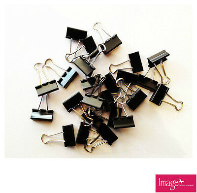 Pack of 40 Black Bulldog Clips Paper File Clips, Stationery 19mm TOM-S102B