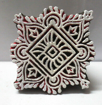 INDIAN WOODEN HAND CARVED TEXTILE PRINT FABRIC BLOCK STAMP SMALL SQUARE PATTERN