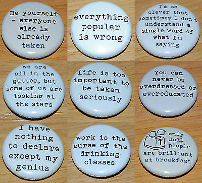 OSCAR WILDE QUOTES Button Badge 25mm / 1 inch