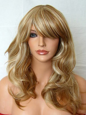 Wavy Full Women Pretty with fringe Brown Blonde Highlight Lady Ladies Wig F23