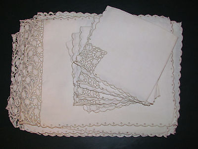 Vtg Set 13 Placemat Napkins Madeira Portugal Cream Linen Embroidered Chic Shabby