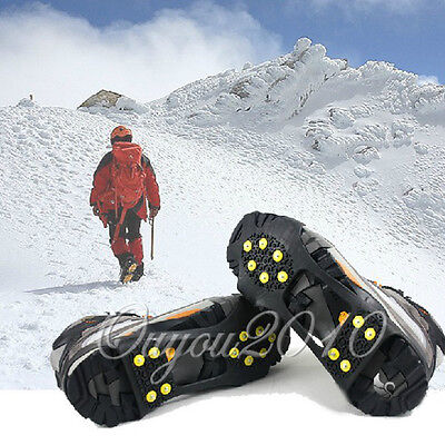 Universal Ice No Slip Snow Shoe Boots Spikes Grips Cleats Quality Crampons Uk