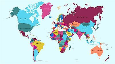 Full Colour Large World Map Wall Stickers Globe Graphics Vinyl Art Decals GA4-1