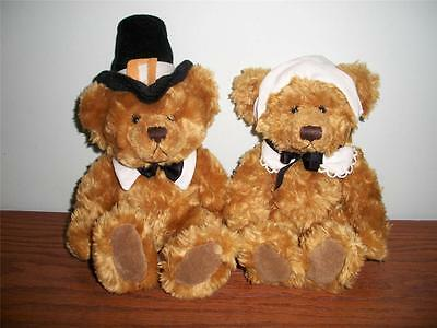 2 Thanksgiving bears from RUSS Pilgrim Mayflower brown soft 8 inch