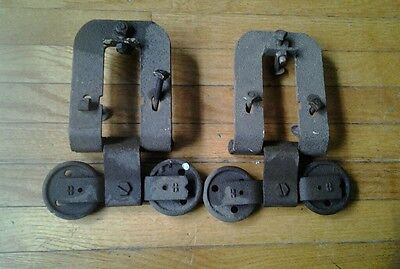 Two Antique Vintage Sliding Barn Door Hardware Rollers Industrial Steampunk