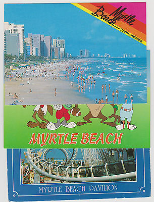 Lot of 3 Myrtle Beach S C Postcards Pavilion Rides Looney Tunes Having Fun