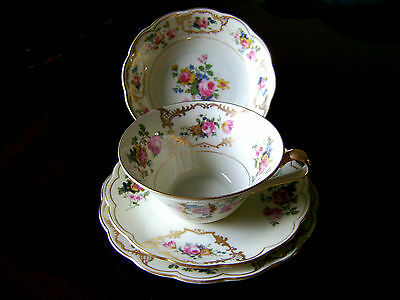 ANTIQUE GERMAN BAVARIA ROYAL BAYREUTH FINE CHINA PORCELAIN 4PC PLACE SETTING  #2