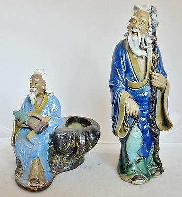 "2 Antique Chinese Mud Men / Vase with Blue Flambe Drip Glazes  (8.7"" & 5.65"")"