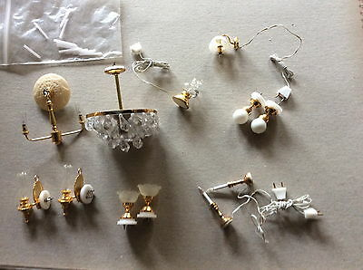 1/12th Dolls house lighting . job lot ,mixed for walls, ceiling. table.