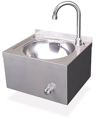 Hand Basin Stainless Steel Ø 260mm Knee Operation Catering Washbasin Wall Mount
