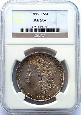 1885O MORGAN SILVER DOLLAR COIN MS64+ Obverse Toning NGC Lot # SR 404