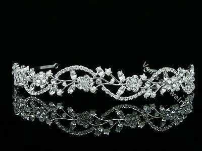 Bridal Floral Rhinestone Crystal Pearls Prom Wedding Headband Tiara 8596