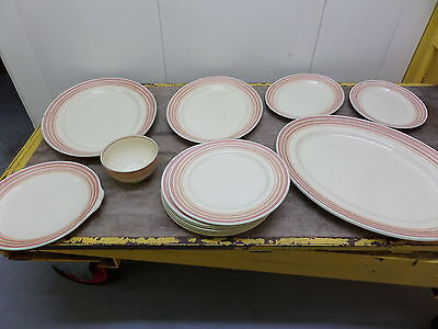 GRAY'S POTTERY STOKE ON TRENT FOR HEAL & SON - 13 pieces - SALMON PINK & GREEN