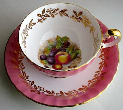 Aynsley Fancy Orchard Fruit Pastel Pink HAND PAINTED Signed D. Jones Cup