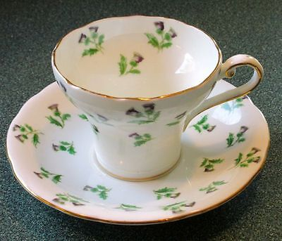 Aynsley Corset Thistles Fine Bone China Tea Cup And Saucer 1930s