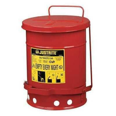 Oily Waste Can,6 Gal.,Steel,Red JUSTRITE 09100