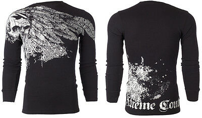 Xtreme Couture AFFLICTION Mens THERMAL T-Shirt ANTIQUATED Tattoo Biker M-3XL $58