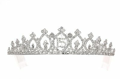 Quinceanera 15 Birthday Party Pageant Rhinestone Crystal Crown Tiara 8942