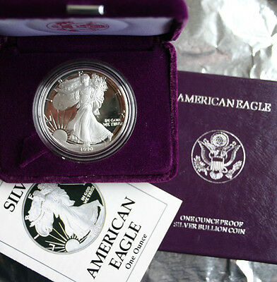 1990 AMERICAN SILVER EAGLE PROOF DOLLAR US Mint ASE Coin with Box & COA