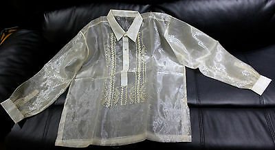 Barong Tagalog For Boys Pina Design Size 18  May Fit  To 12-13 Years Old Boys.