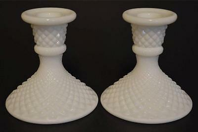 Westmoreland  English Hobnail Milk Glass Candlestick Candle Holders (2) Unmarked