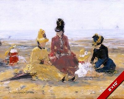 Women In Dresses On The Beach Vintage Oil Painting Art Real Canvas Giclee Print