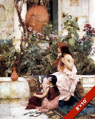 TWO GIRLS /& SKY LANTERNS IN FLOWER GARDEN OIL PAINTING ART PRINT ON REAL CANVAS