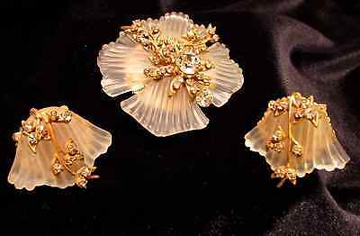 Vintage Miriam Haskell Brooch and Earring Set