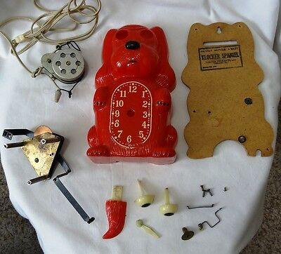 RED  Vintage Klocker Spaniel Wall Clock for PARTS or Fix Me! Retro Cool!