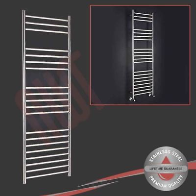 600mm (w) x 1600mm (h) Polished Stainless Steel Towel Rail Radiator 2291 BTUs