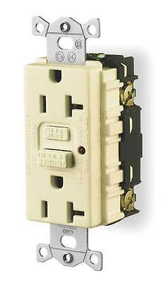 HUBBELL WIRING DEVICE-KELLEMS GF20ILA Receptacle,GFCI,20 Amp,120 VAC,5-20R,LED