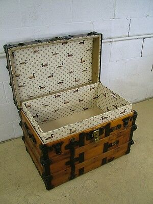 Antique 19c Flat Top Wood Leather Steamer Trunk w Tray & Upholstered Interior