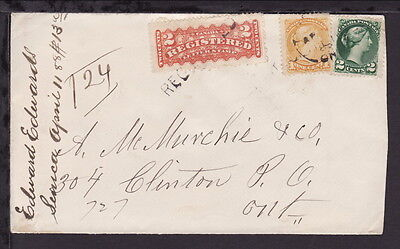 """CANADA 1888 CLINTON VICTORIA REGISTERED STAMPS """"L.H. & B. RAIL POST OFFICE COVER"""