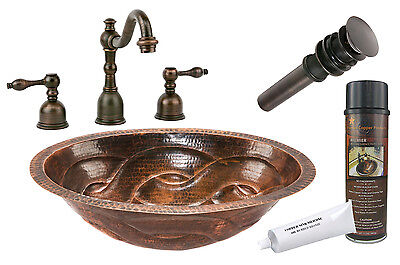 """Premier Copper Products BSP2_LO19FBDDB 19"""" Braid Under Mount Copper Sink Package"""