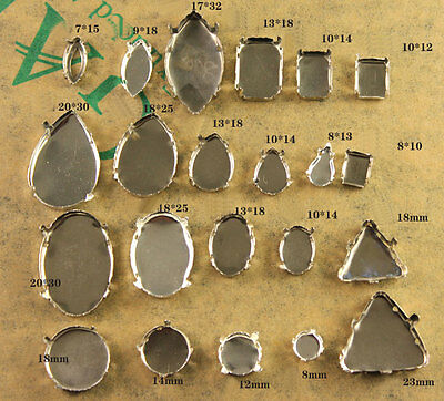 Faceted crystal teardrop/oval Jewels's silver Setting For Sewing On pk qty&size