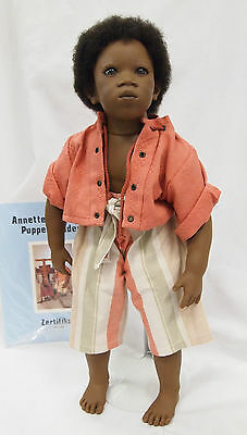 Annette Himstedt doll PEMBA 21in Vinyl African American Boy 92/93 Barefoot child