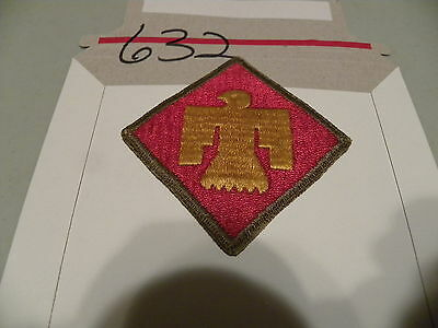 US Army WWII 45ID Thunderbird Patch OD Green Border See Back of Patch Nice 632
