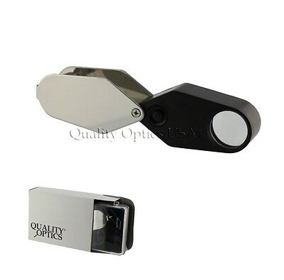 Magnifying Magnifier Jewelers Eye Jewelry Loupe Led Light Fold Out Coin USA CO.