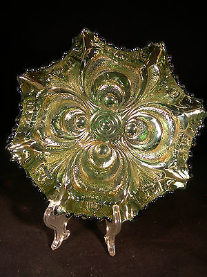 "Imperial ""Scroll Embossed"" GREEN Carnival Glass Ruffled Bowl! circa.1909"