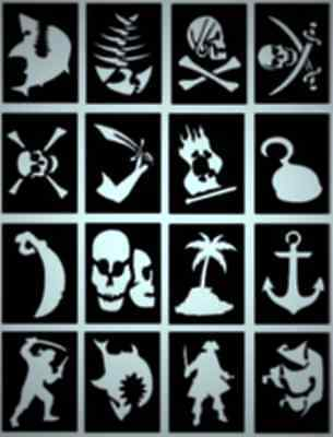 16 x Pirate Glitter Tattoo stencils great for pirate parties