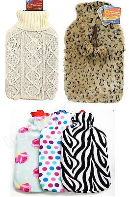 2 Ltr Large Hot Warmer Water Bottle Natural Rubber Material With Cosy Cover